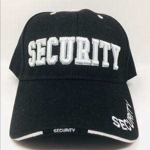 Security Embroidered Letters Black Hat Cap